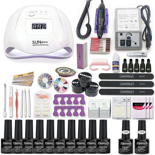 Manicure Set Acrylic Nail Kit With 120/54W Nail Lamp Choose Gel Nail Polish Nail Art Set  Manicure Machine All For Manicure