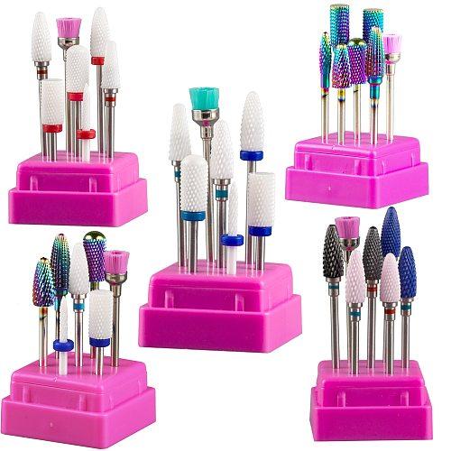 Milling Cutter for Manicure Set Ceramic Nail Drill Bits for Electric Drill Manicure Machine Pedicure Mill Cutters Corn Corundum