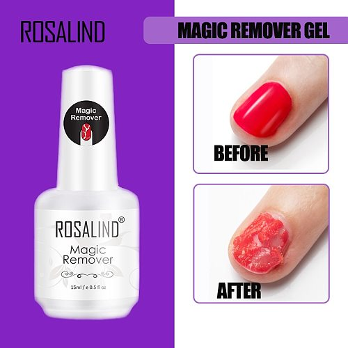 ROSALIND Magic Remover Gel Nail Polish Remover Within 2-3 MINS Peel off  Varnishes Base Top Coat without Soak off Remover Tools