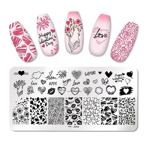 PICT You Valentine's Day Nail Stamping Plates Rose Flower Love Nail Art Plate Stainless Steel Nail Design Stencil Tools