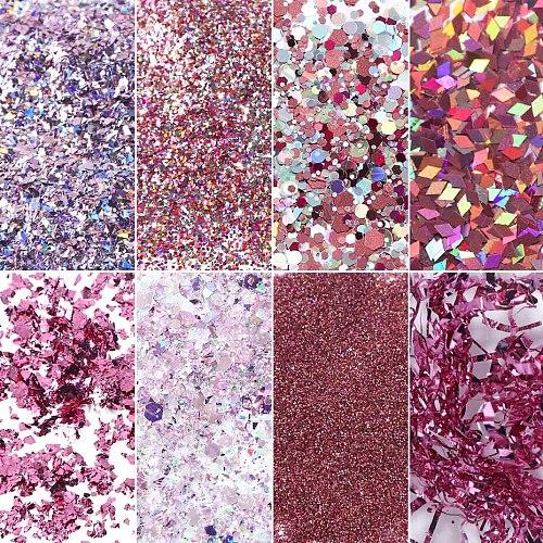 8 Box Holographic Glitter Nail Art Pigment Powder 3D Colorful Sequins Spangles Polish Manicure Nail Art Decorations SA1506-05-1