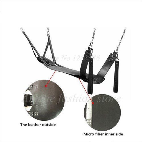 Flirt Essential Sex Furnitures Quality Leather Iron Tube Sling Leather Bed Hammock and Pillow Bondage Sex Swing Chair for Couple