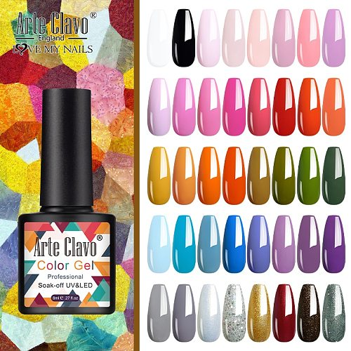 Arte Clavo 8ml Nails Gel Nail Polish Gel Polish Set For Manicure Semi Permanent UV Gel Varnish Hybrid Nail Art 2020 Top