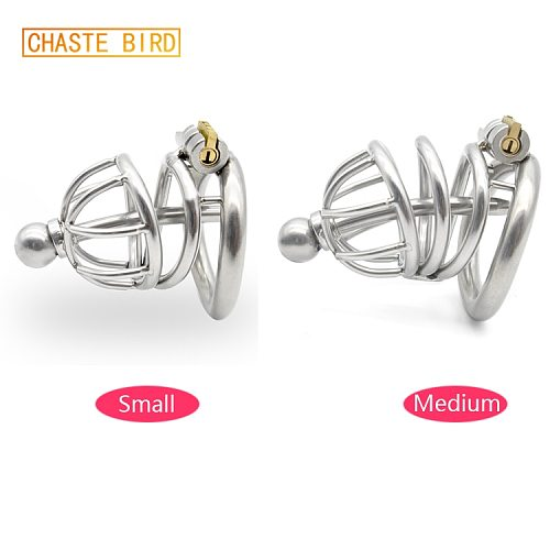 304 stainless steel Cage Chastity with catheter Device arc-shaped Cock Ring with Stealth lock Sex Toy A227
