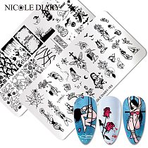 NICOLE DIARY Halloween Rose Design Stamping Plates Ghost Spider Flower Nail Stamp Templates Sexy Girl Image Printing Stencil