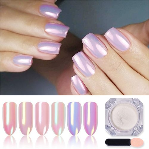 1 Box Silver Mirror Magic Pigment Powder Pearl Nail Glitter Dust Shiny Gel Polish Nail Art Chrome Powder Decorations