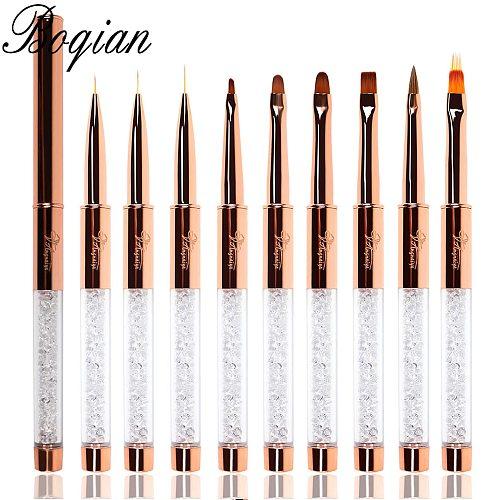 BQAN Rose Gold Nail Brush UV Gel  Liner Painting Pen Acrylic Drawing Brush for Nails Gradient Rhinestone Handle Nail Art Tool