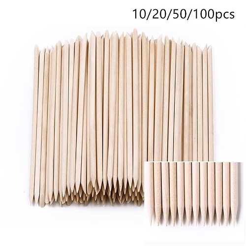 10/20/50/100pcs Wooden Cuticle Pusher Nail Rhinestone Remover Double Head Portable Nail Art Cuticle Remover  Nail Tools