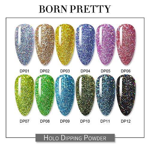 BORN PRETTY Dip Nail Powders, Gradient Holographics Dipping Glitter Decoration, Longer lasting Nail powders, Natural Dry Without