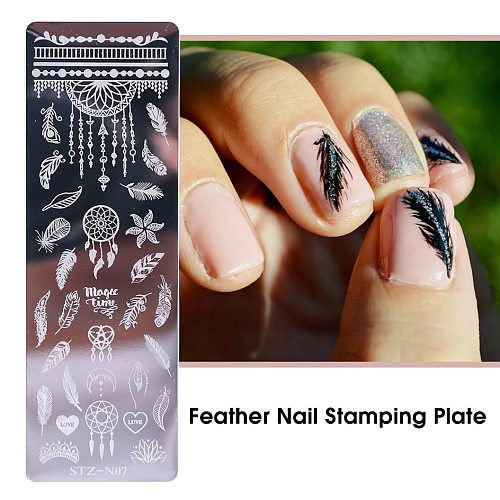 Feather Leaf Nail Stamping Plates Summer Nail Art Template Stainless Steel Butterfly Image Manicure Printing Tool CHSTZN01-12-2