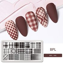 BORN PRETTY Rectangle Plaid Stripe Pattern Nail Stamping Plates Stamp Template Stainless Steel Nail Art  Printing Tool