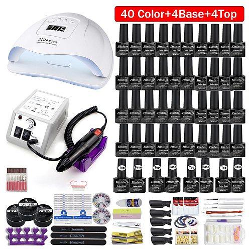 120/80/54W Professional Nail Lamp Kit 50/40 Colors Gel Polish Acrylic Manicure Set  Nail Tool With Nail Salon Nail Drill Machine
