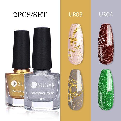 UR SUGAR 6ml Nail Art Stamping Polish Colorful Black White Nail Art Plate Printing Polish Varnish Nail Art Decoration
