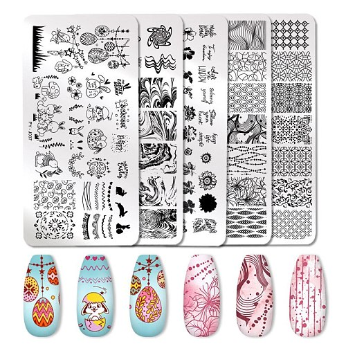 PICT YOU Nail Stamping Plates Flowers Marble Animals Stamp Plate Stainless Steel Nail Design DIY Stencil Tools