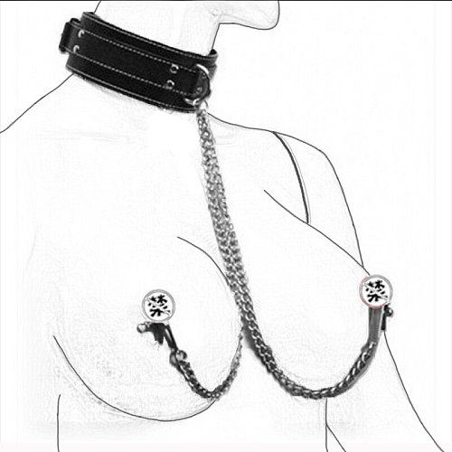 Faux Leather Choker Collar With Nipple Breast Clamp Clip Chain Couples BSSM Sex Toys For Woman Flirt Interesting Adult Games