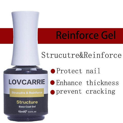 LOVCARRIE Nail Primer Structure Gel Base Coat 15ml Thick Rubber Reinforce Gel Nail Polish Resin Hard Gellak for Nails Art 2021