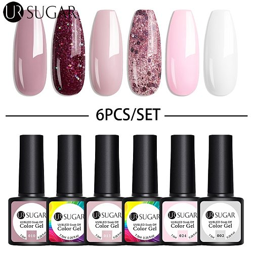 UR SUGAR 4/6Pcs Gel Nail Polish Set Color UV Gel Varnish Glitter Sequins Gel Semi Permanent 7.5ml Soak Off UV LED Gel Lacquers
