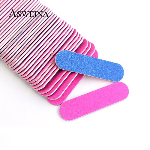50/100 Pcs/lots Double-side Nail Files Mini Buffers Tools DIY Sandpaper Nail Tips Pink Blue Sanding Professional Nail Art Tools