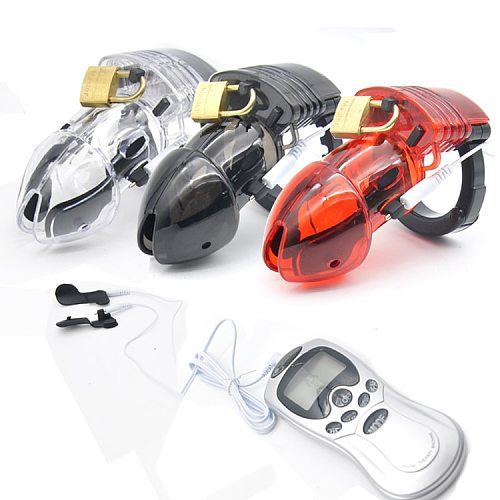 Factory Price Electro Shock Male Chastity Device Cock Cage With Adjustable Cuff Ring Adult Lock Belt Sex Toys A175