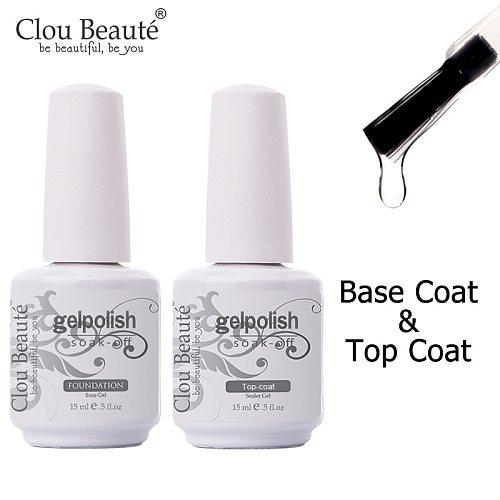 Clou Beaute Gel Nail Polish 15ml Base Foundation and No Wipe Top Coat Transparent Primer Soak off Lacquer Rose Gold Varnish
