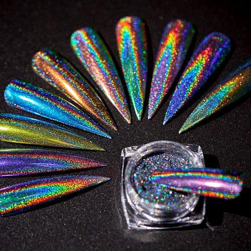 1 Box Holographic Nail Glitter Powder Laser Pigment Nail Art Dust Mirror Chrome Shining Pigment Powder DIY Decorations