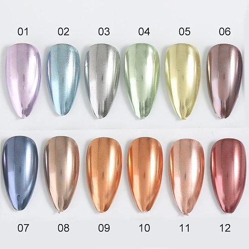 1 Box Mirror Solid Nail Glitters Powder Dust for Metallic Nail Art Nail Powder Chrome Pigment DIY Decorations