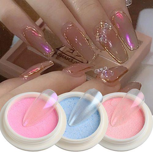 Solid Aurora Nail Powder Mermaid Chrome Mirror Pigment Nail Art Decorations Pearl Rubbing Dust Brush Set Pink Glitters TRSS01-06
