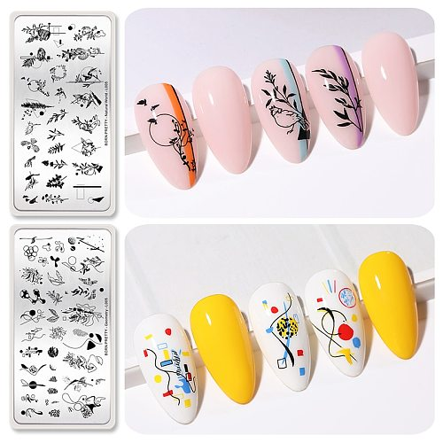 BORN PRETTY Line Flower Leaves Pattern Stamping Plates Image Printing Template Stainless Steel Nail Design Stamp Tools