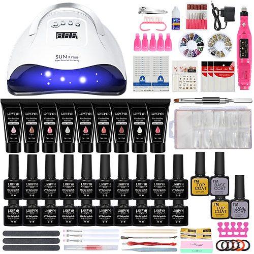 Nail set UVNail lamp nail drying and Electric Nail Drill Gel Polish Kit 15ml Quick Building Nail Gel Extension Poly Nail Art kit