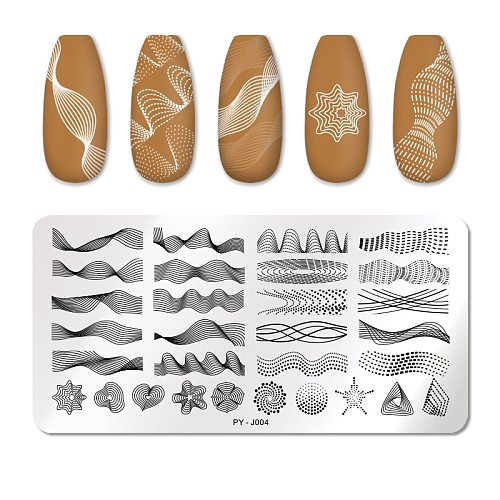 PICT YOU Nail Stamping Plates Rectangle Geometric Line Wave Pattern Stainless Steel Nail Art Image Stamp Stencils Design J004