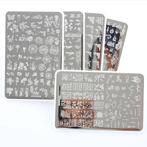 14.5X9.5 XXL Flowers Pattern Nail Stamping Plates Image Painting Nail Art Stencils Template Nail Stamp Tool nail decal templates