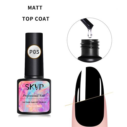 8ML Manicure Diamond Top Coat Glitter Gloss No Wipe Matte Soak Off Topcoat UV Gel Nail Varnish Sealer Matt Base Coat Gel