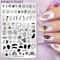 NICOLE DIARY Big Size Leaf Flower Nail Stamping Plates Christmas Xmas Stamp Templates Leopard Snow Image Printing Stencil Tool