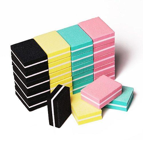 20pcs/lot Double-sided Mini Nail File Blocks Colorful Sponge Nail Polish Sanding Buffer Strips Nail Polishing Nail Tools