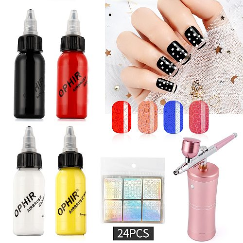 4 color 30ML Nail Airbrush Inks for Spray gun Nail Art Nail Painting Pigment Inks Airbrushing Kit Colors Nail Tools Manicure gel