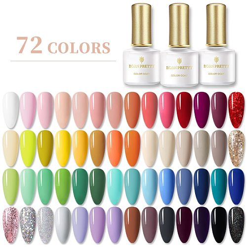 BORN PRETTY Gel Nail Polish 6ml Pure-Nail-Color Soak Off UV Gel Semi Permanent Gel Varnish Base Top Coat Need UV Lamp Cure