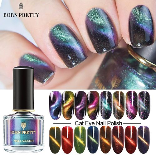 BORN PRETTY Cat Magnetic Nail Polish 7ml Chameleon Glittery Sequins Nail Art Varnish Black Base Needed