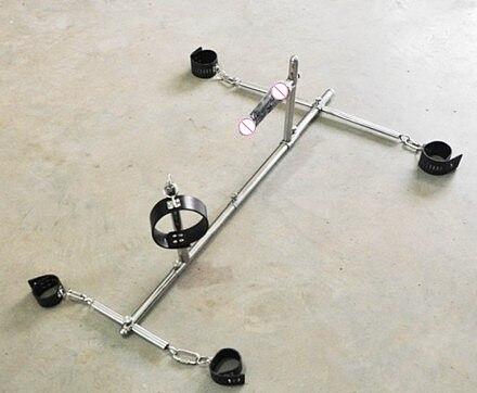 Unisex Stainless Steel Bondage Frame Leather Handcuffs Wrist Cuffs Anklet Neck Collar Dildo Dog Slaves Devices BDSM Sex Toy