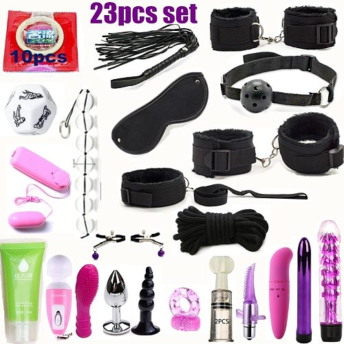 Sex set Intimate BDSM Bondage Kit Set Silicone Anal Vibrator Fetish Sex Toys for Couples Slave Game Handcuffs Erotic Posit