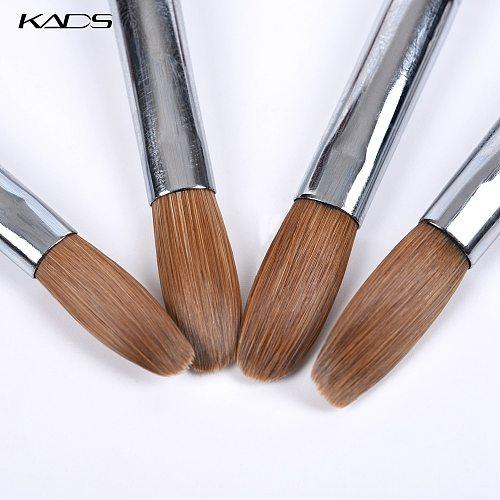 1pcs Kolinsky Sable Acrylic Brush UV Gel Carving Pen Brush Liquid Powder DIY Nail Drawing Flat Round Red Wood Nail Art Brush