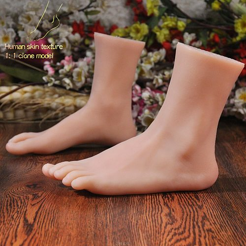 Silicone Foot Model Lifesize Female for Sketch Drawing Shoe Socks Sandal Display Art TPE Sketch Medicine Stage Nail ZISHINE 3905