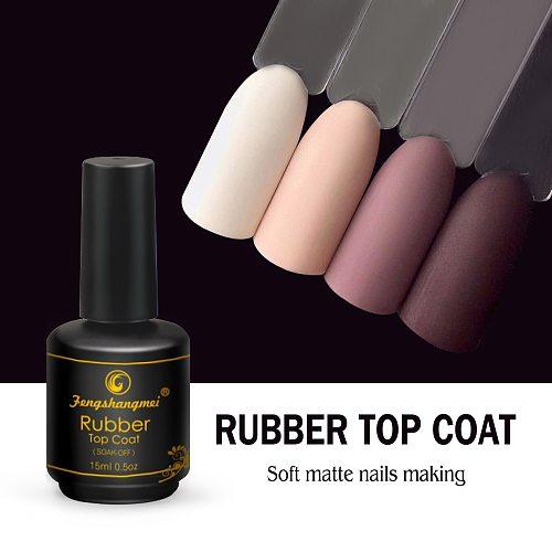 Fengshangmei 15ml Matte Rubber Top Coat Gel Polish Seal UV Neon Art Design Matte Gel Vanishes Popular Gel Lak Lacquer Matte