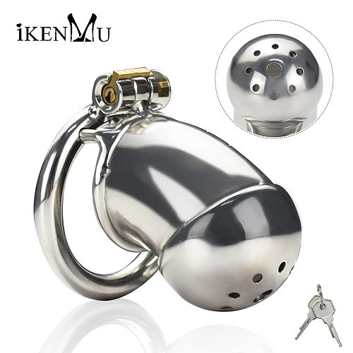 Male Chastity Device Super Small,Stainless Steel Cock Cage Chastity with Anti-off Ring,Sex Toy Gay Men Metal Chastity Belt