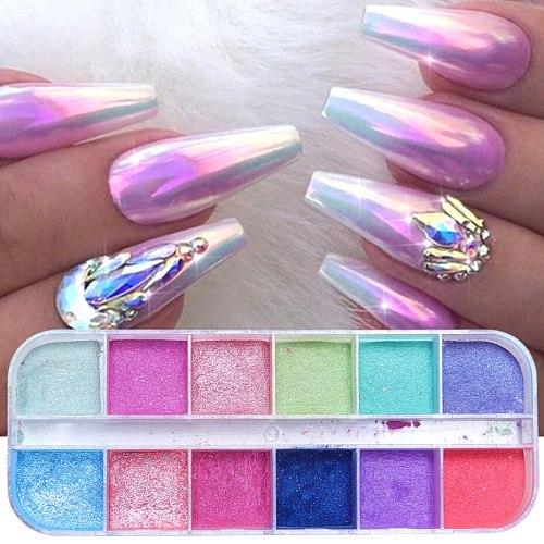 1 Box Chrome Nail Art Glitter Pigment Mirror Dipping Powder Super-fine Colorful Shimmer Pearl Powder Nail Decor Dust LAZGF-2