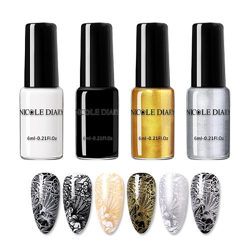 NICOLE DIARY Nail Art Stamping Polish Gold Silver Black White Nail Art Plate Printing Polish Varnish Nail Art Decoration