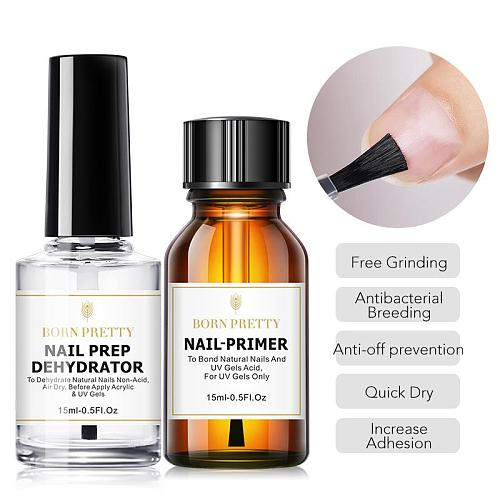 BORN PRETTY 15ml Nail  Nail Prep Dehydrator Gel Nail Polish No Need Of UV LED Lamp Base Top Coat Nail Art Varnish