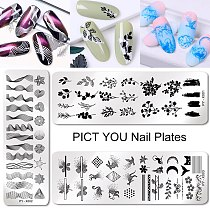 PICT YOU  Flower Geometry Nail Stamping Plates Animal Leaves DIY Image Stencil For Nails Polish Printing Templates Tools