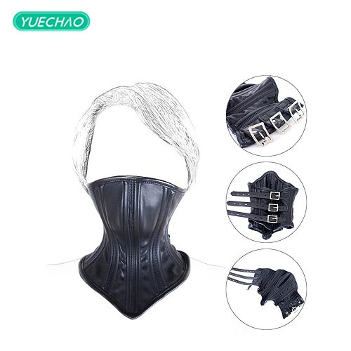 Faux Leather Hood Mask Neck Collar Restraints Harness Bondage Role Play Sex Toy