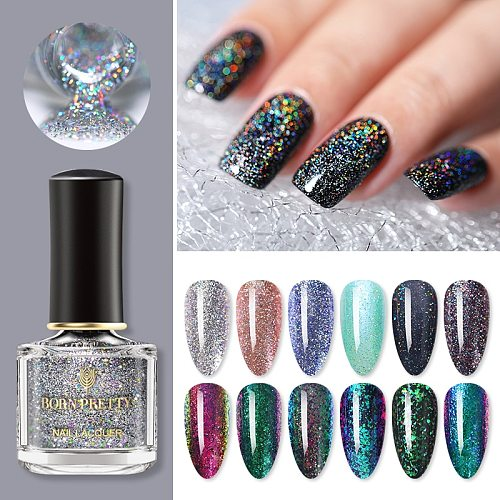 BORN PRETTY Holographics Nail Polish Giltter Effect Vanish No Need Cured Polish Nail Art Design Manicuring Base Top Coat