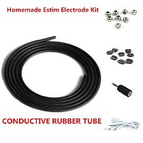 Homemade E-stim DIY Electrodes CONDUCTIVE RUBBER TUBE Kit for Electrosex Gear ESTIM TENS Unit